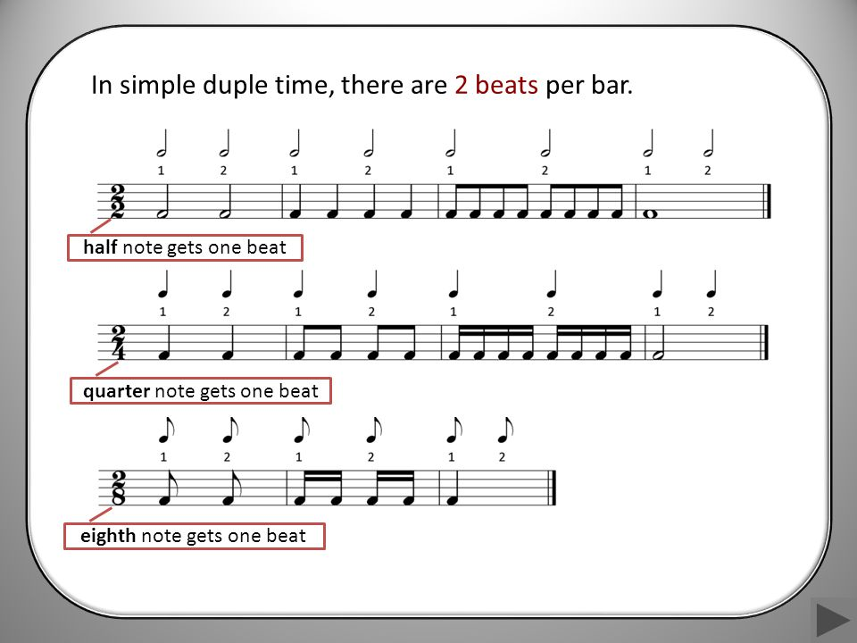 In simple duple time, there are 2 beats per bar.