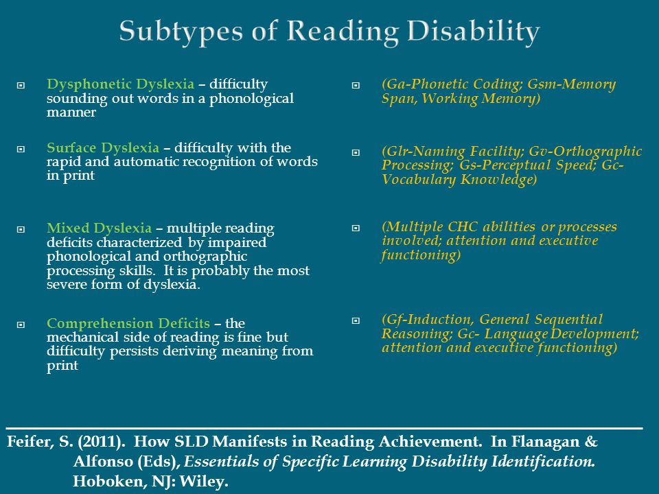 Subtypes of Reading Disability