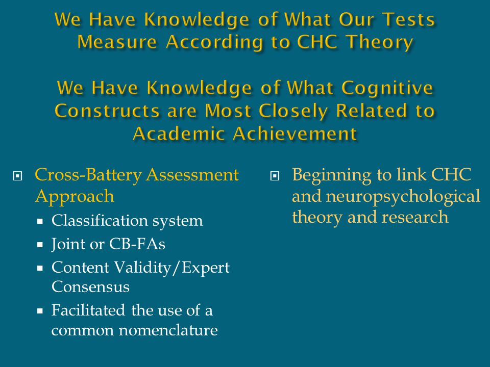 We Have Knowledge of What Our Tests Measure According to CHC Theory We Have Knowledge of What Cognitive Constructs are Most Closely Related to Academic Achievement
