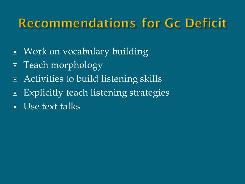 Recommendations for Gc Deficit