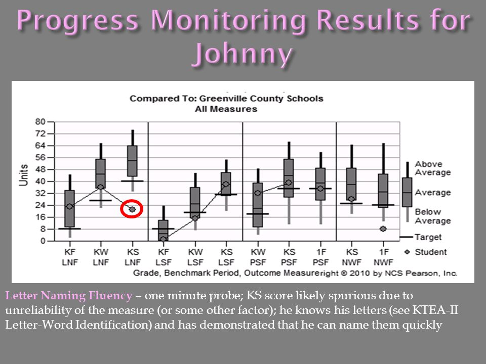 Progress Monitoring Results for Johnny