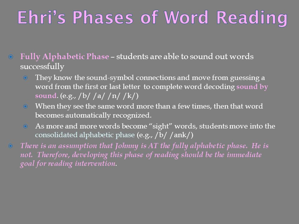 Ehri's Phases of Word Reading