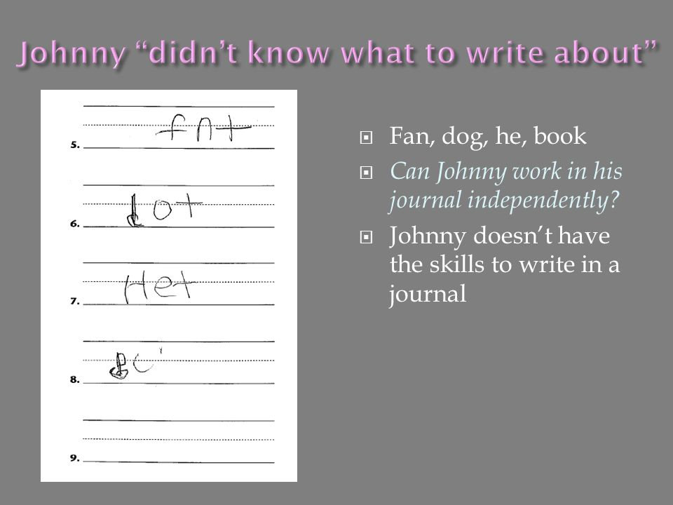 Johnny didn't know what to write about