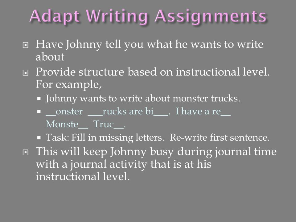 Adapt Writing Assignments