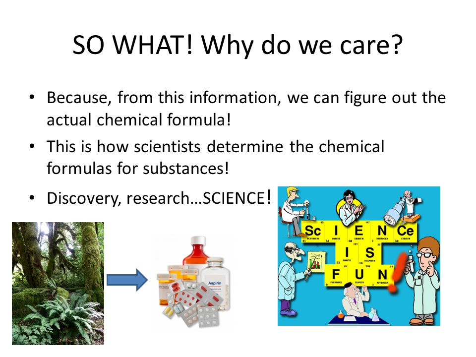 SO WHAT! Why do we care Because, from this information, we can figure out the actual chemical formula!