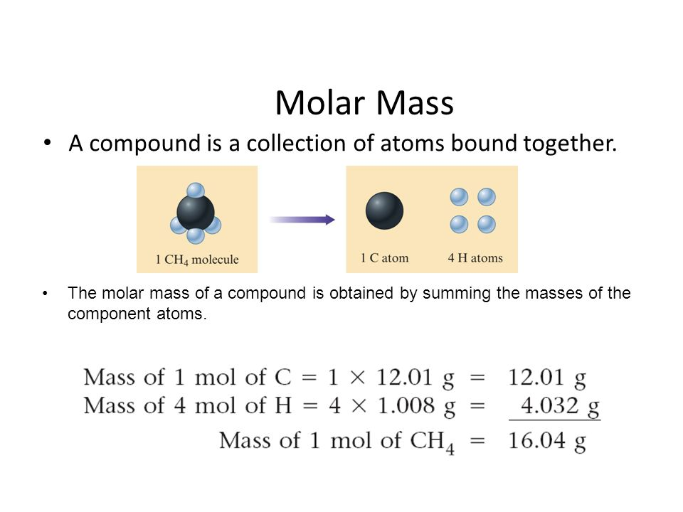 Molar Mass A compound is a collection of atoms bound together.