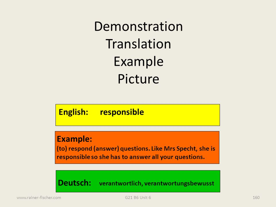 Demonstration Translation Example Picture English: responsible