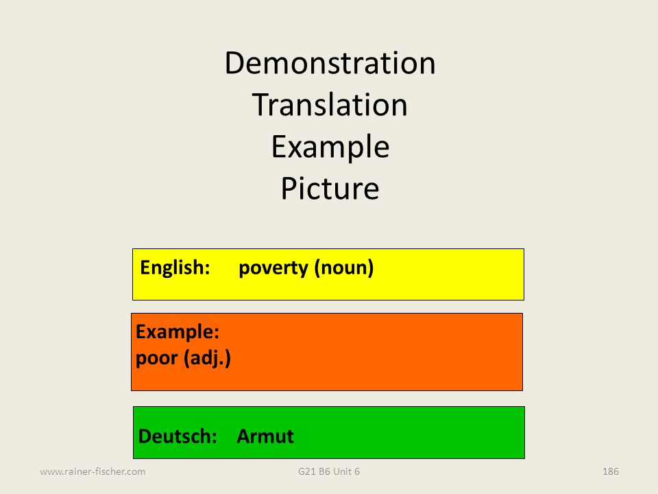 Demonstration Translation Example Picture English: poverty (noun)