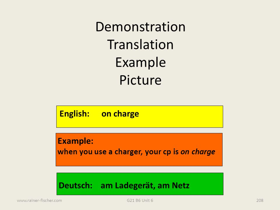 Demonstration Translation Example Picture English: on charge Example: