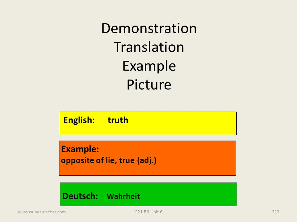 Demonstration Translation Example Picture English: truth Example: