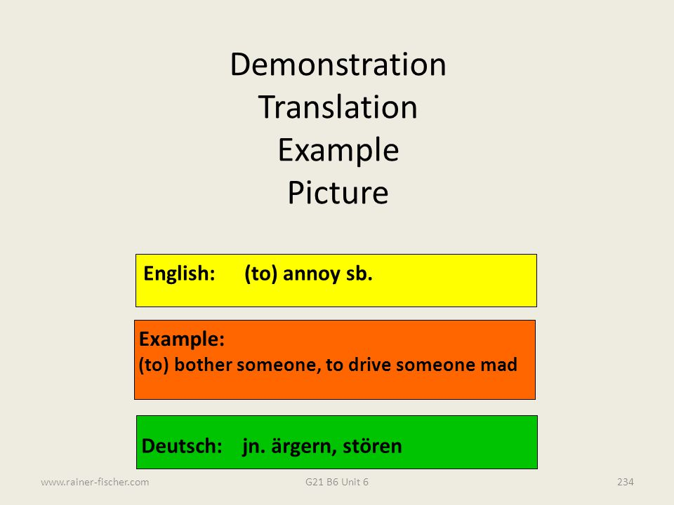 Demonstration Translation Example Picture English: (to) annoy sb.