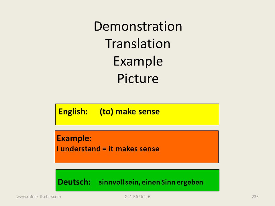 Demonstration Translation Example Picture English: (to) make sense