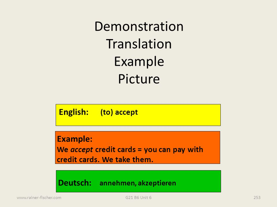 Demonstration Translation Example Picture English: (to) accept