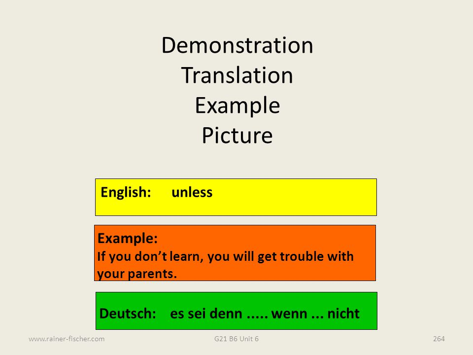 Demonstration Translation Example Picture English: unless Example: