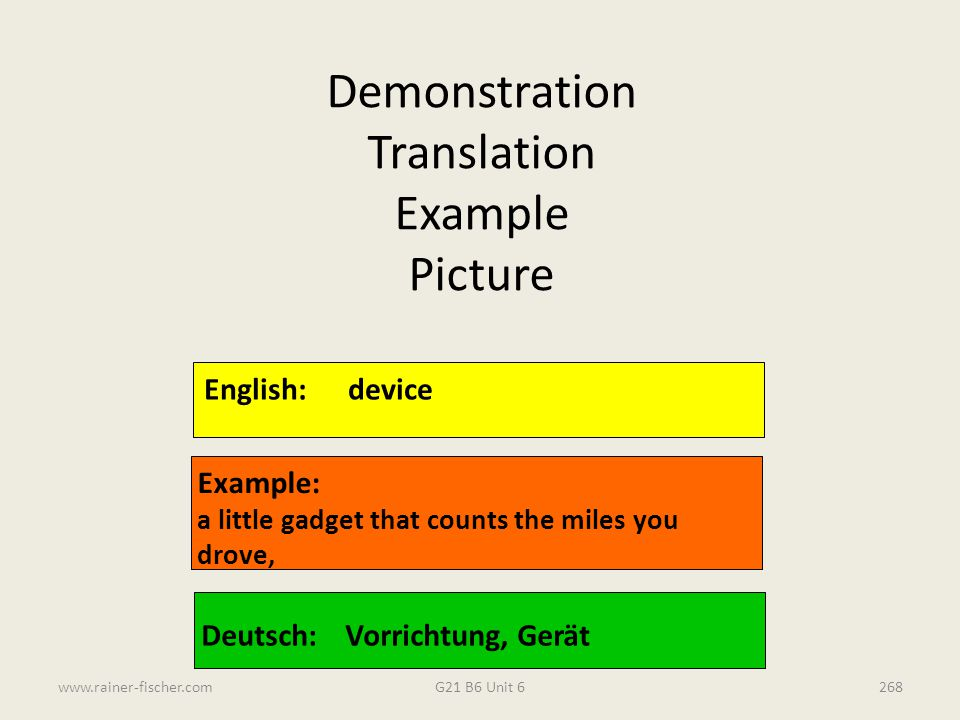 Demonstration Translation Example Picture English: device Example: