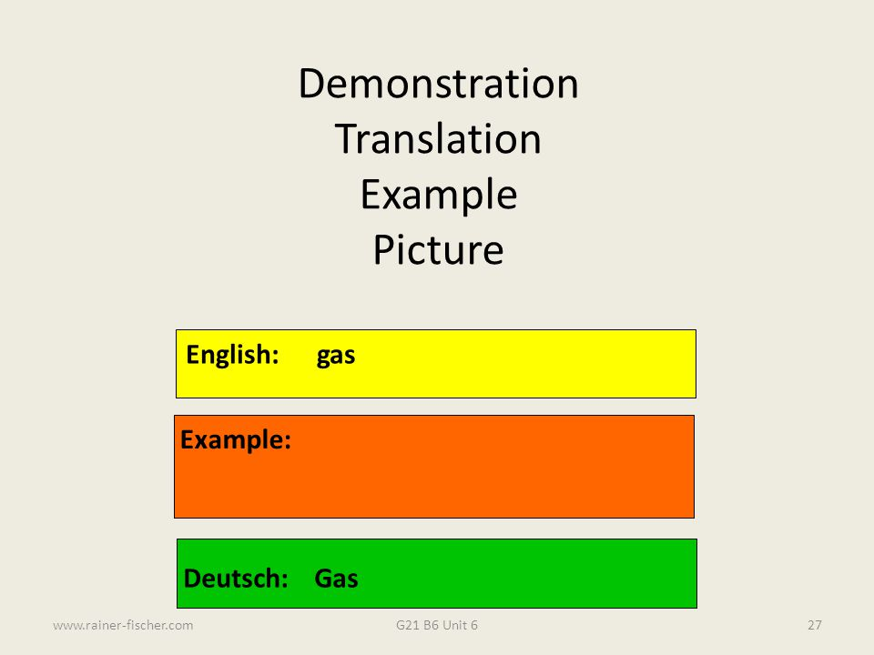 Demonstration Translation Example Picture English: gas Example: