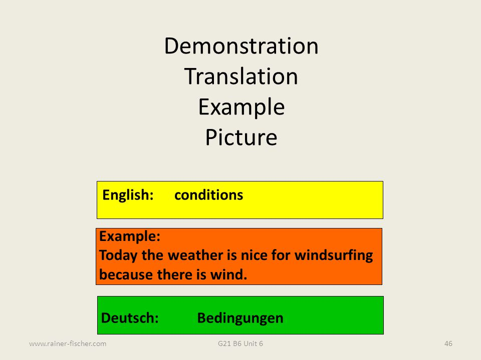 Demonstration Translation Example Picture English: conditions Example: