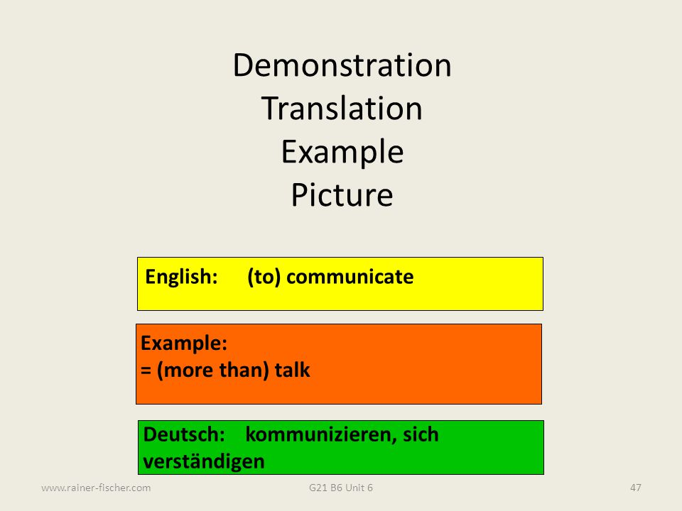 Demonstration Translation Example Picture English: (to) communicate
