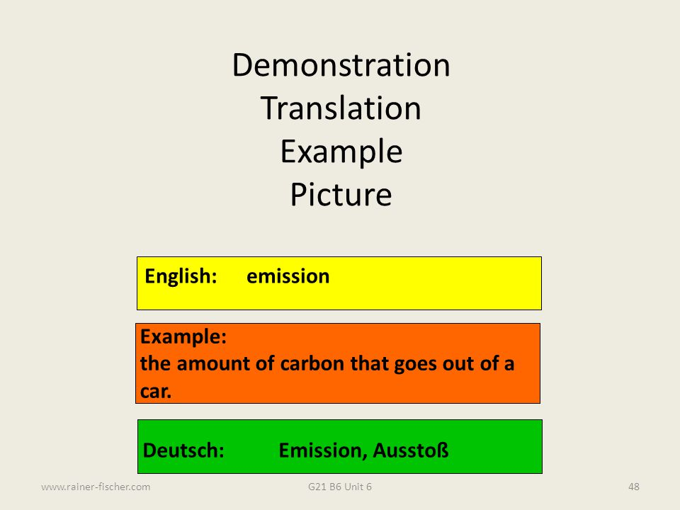 Demonstration Translation Example Picture English: emission Example: