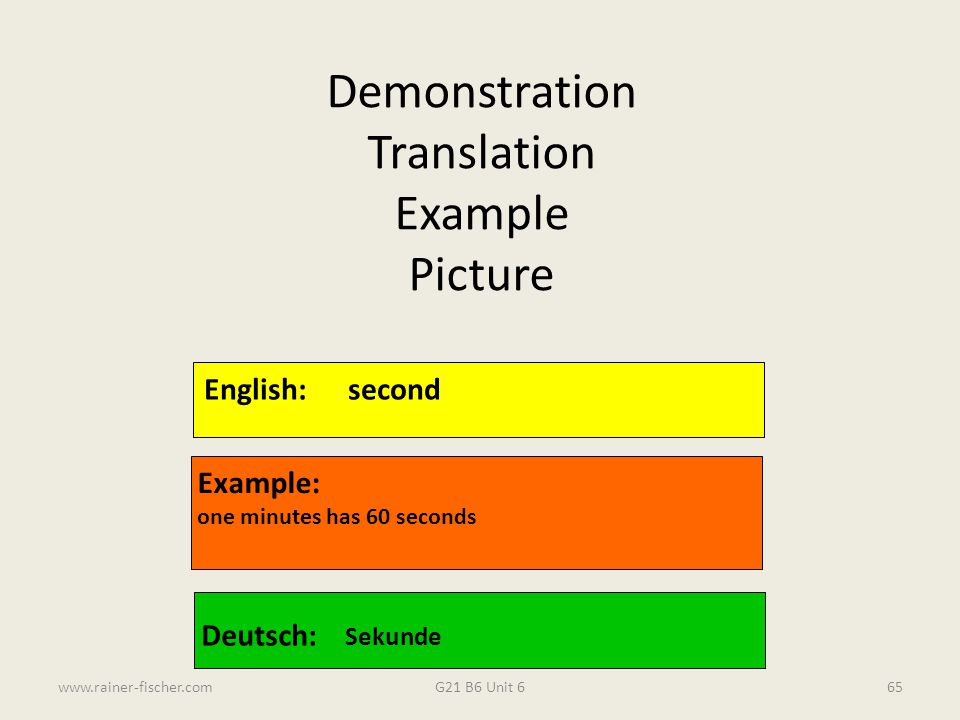 Demonstration Translation Example Picture English: second Example: