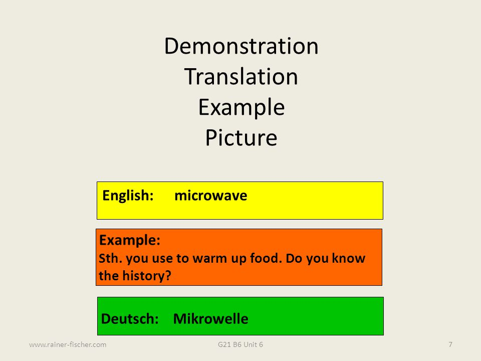Demonstration Translation Example Picture English: microwave Example: