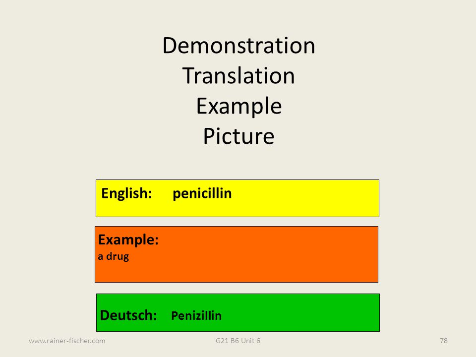 Demonstration Translation Example Picture English: penicillin Example: