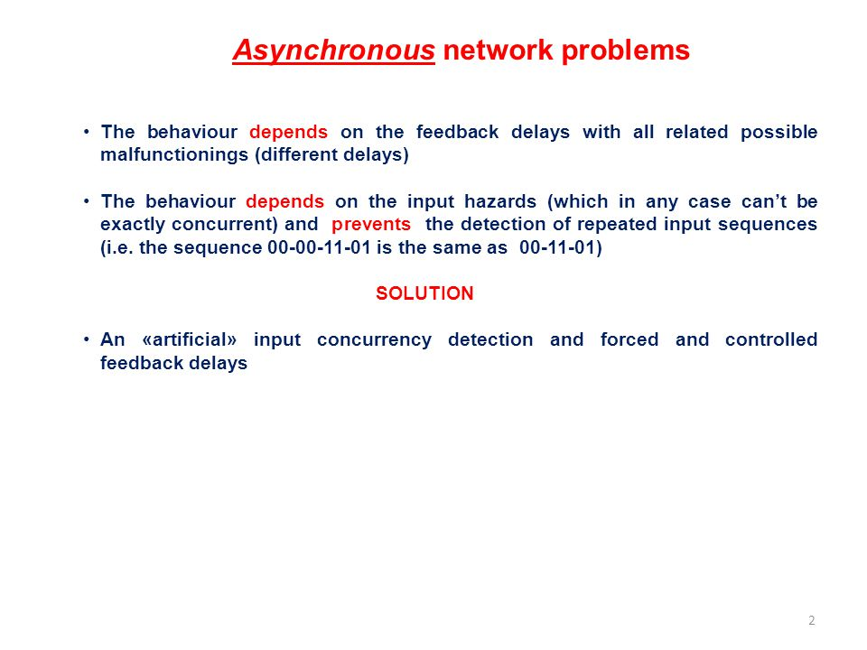 Asynchronous network problems