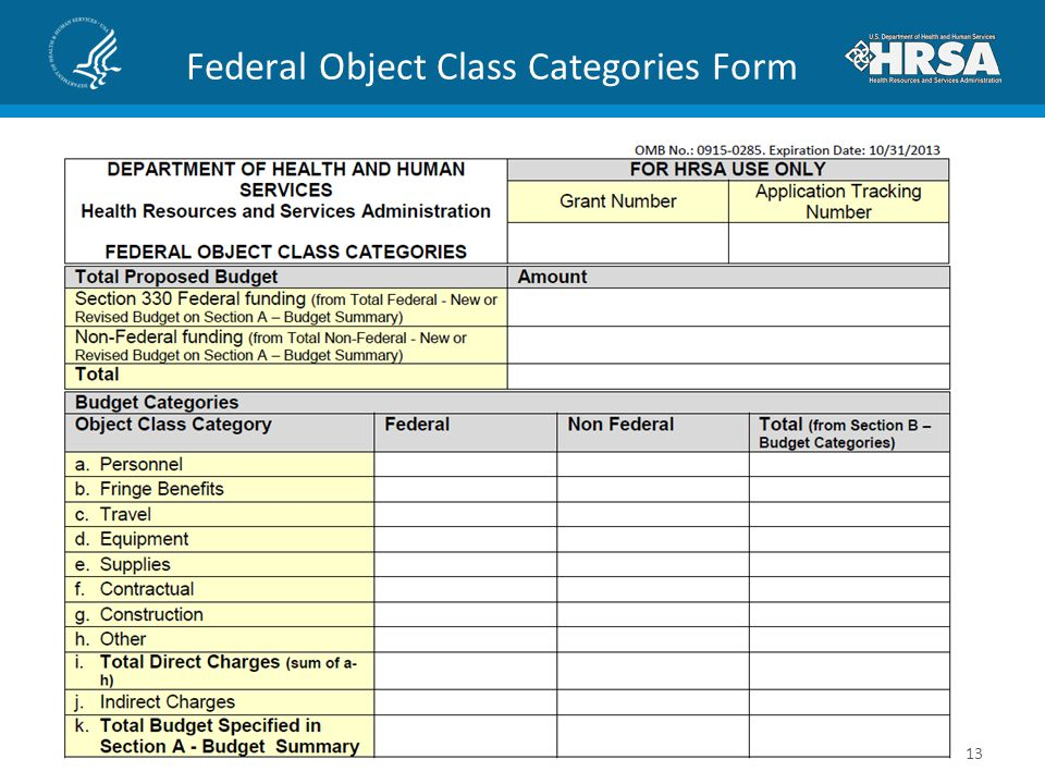 Federal Object Class Categories Form