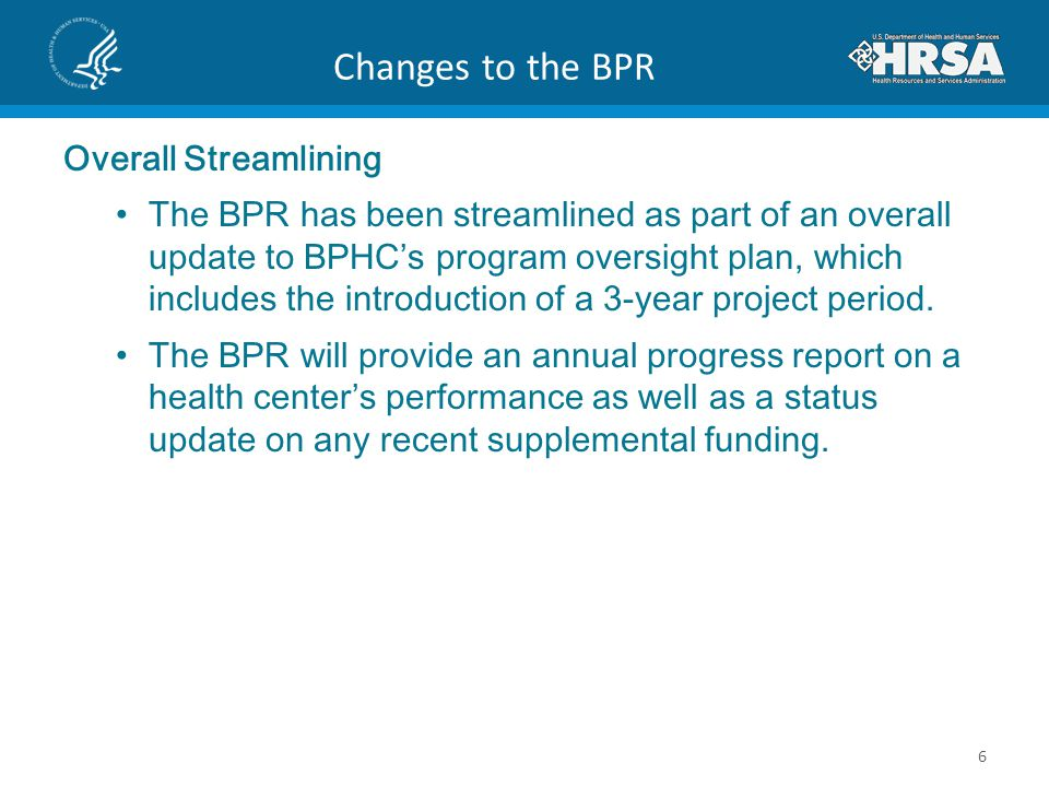 Changes to the BPR Overall Streamlining