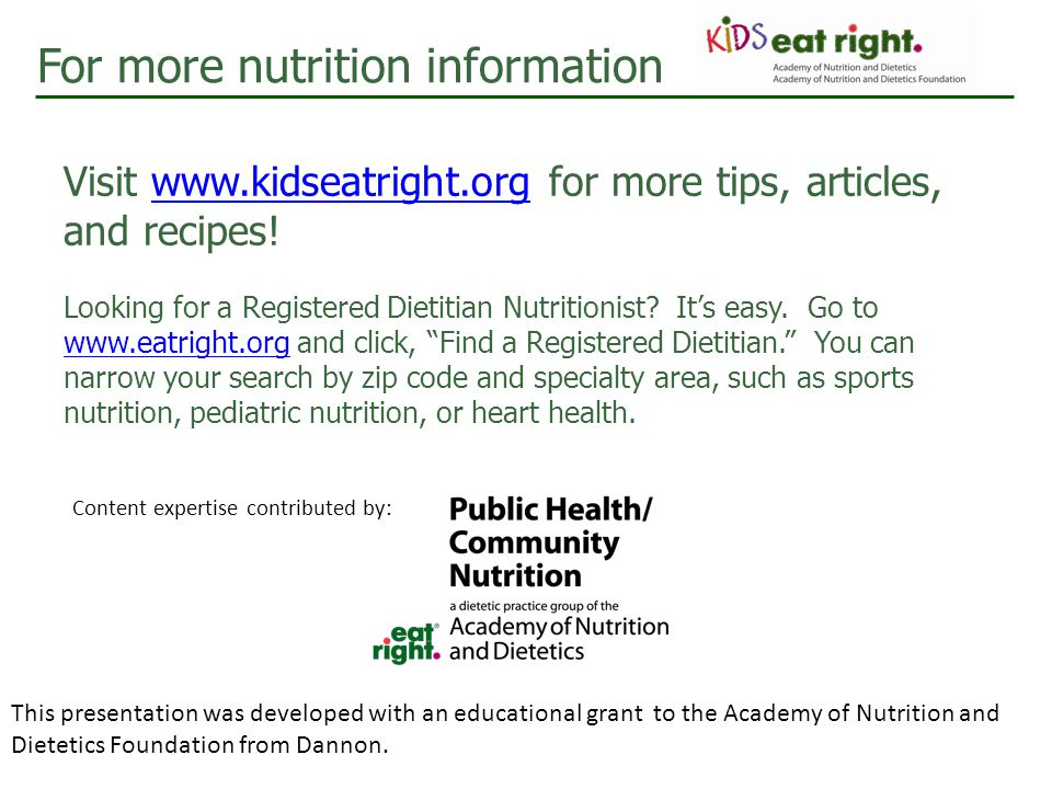 For more nutrition information