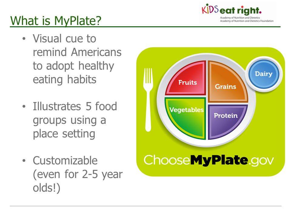 What is MyPlate Visual cue to remind Americans to adopt healthy eating habits. Illustrates 5 food groups using a place setting.