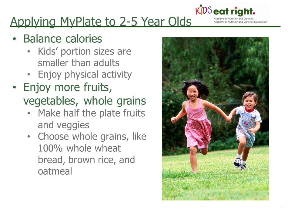 Applying MyPlate to 2-5 Year Olds