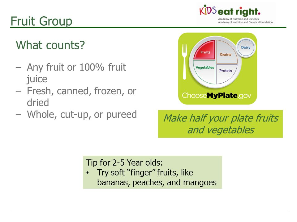 Make half your plate fruits and vegetables