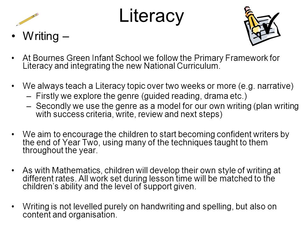 Literacy Writing – At Bournes Green Infant School we follow the Primary Framework for Literacy and integrating the new National Curriculum.