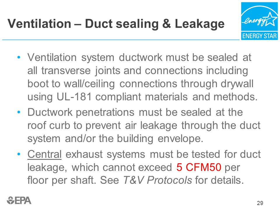 Ventilation – Duct sealing & Leakage