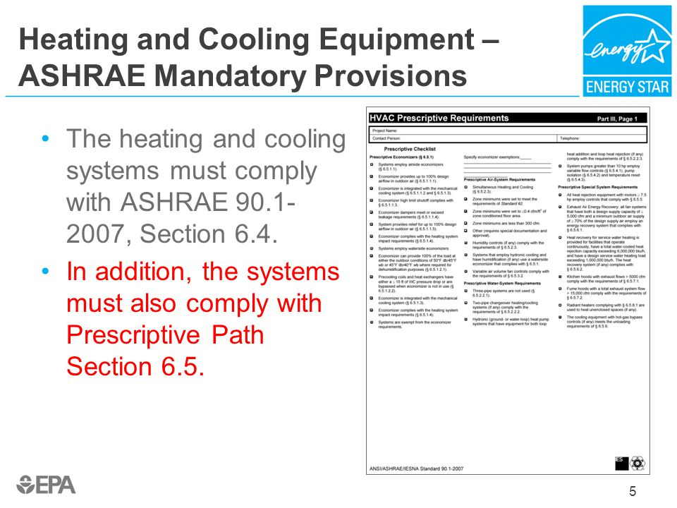 Heating and Cooling Equipment – ASHRAE Mandatory Provisions