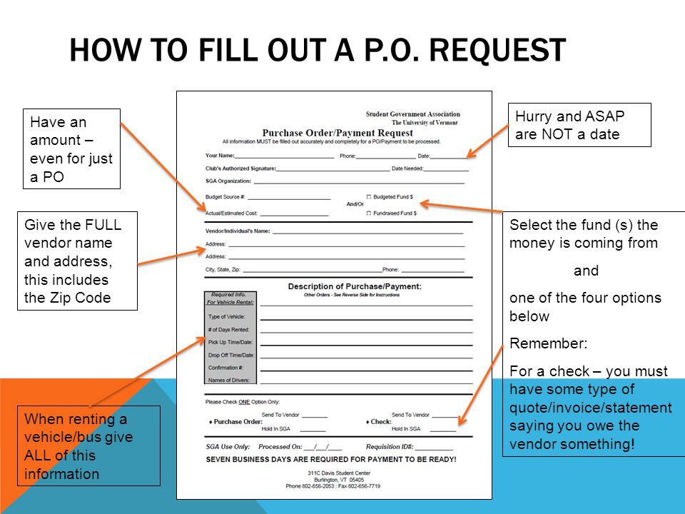 How to fill out a p.o. request