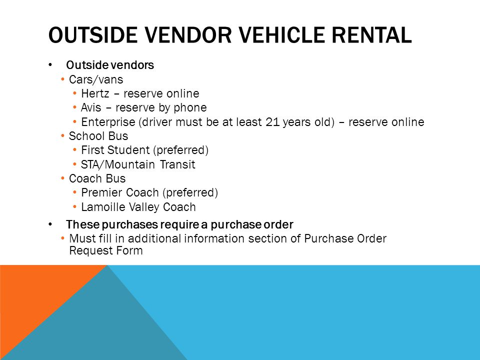 Outside vendor vehicle rental