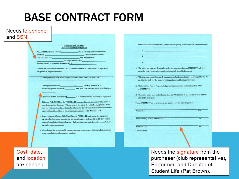 Base contract form Needs telephone and SSN