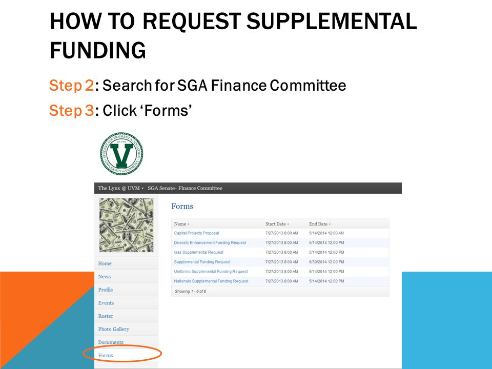 How to request supplemental funding