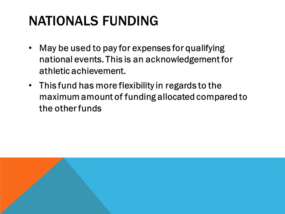 Nationals funding May be used to pay for expenses for qualifying national events. This is an acknowledgement for athletic achievement.