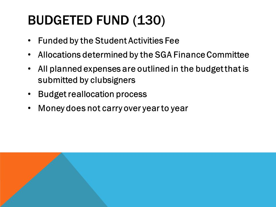 Budgeted Fund (130) Funded by the Student Activities Fee