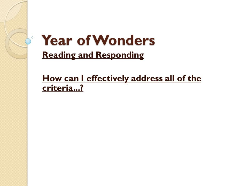 Year of Wonders Reading and Responding