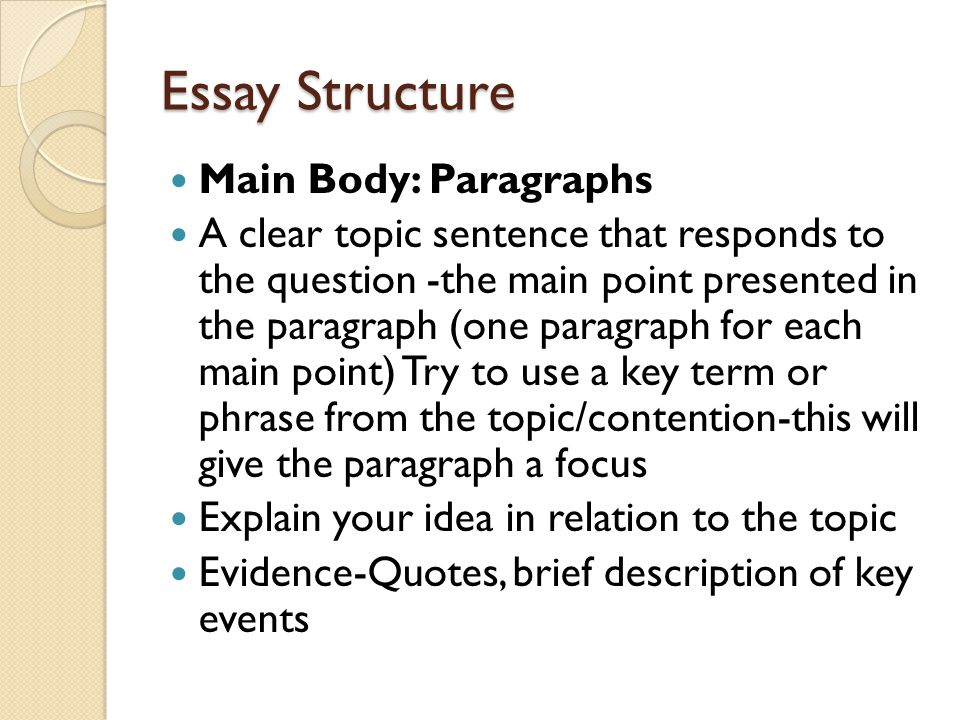 Essay Structure Main Body: Paragraphs