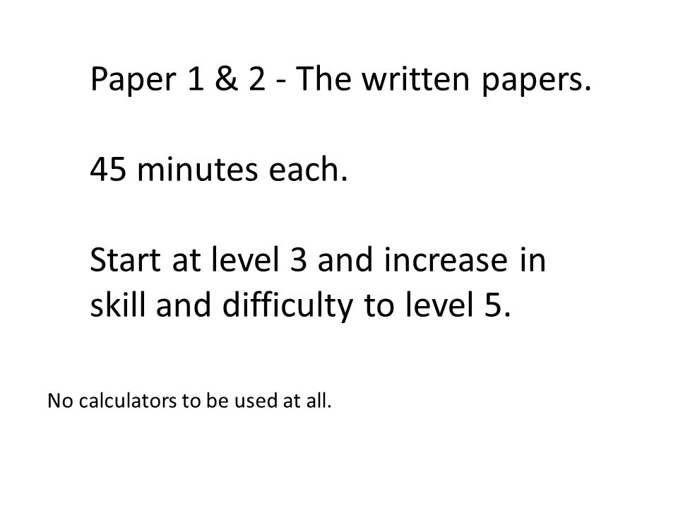 Paper 1 & 2 - The written papers. 45 minutes each.