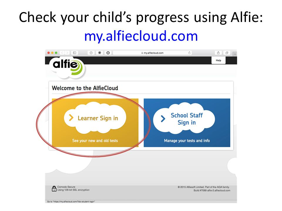 Check your child's progress using Alfie: my.alfiecloud.com