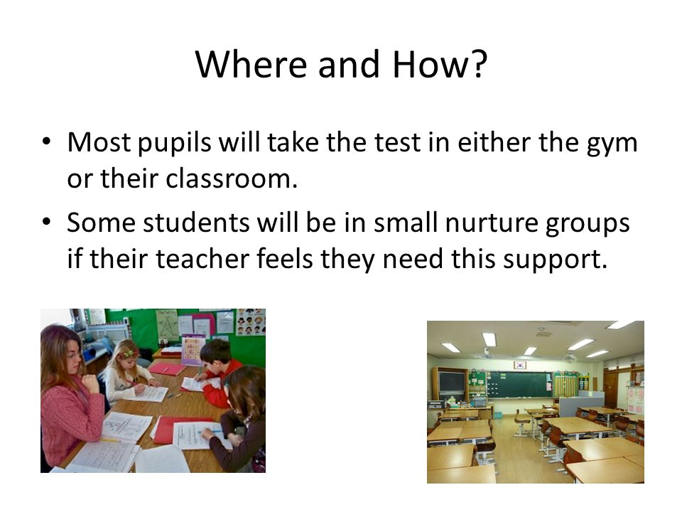 Where and How Most pupils will take the test in either the gym or their classroom.