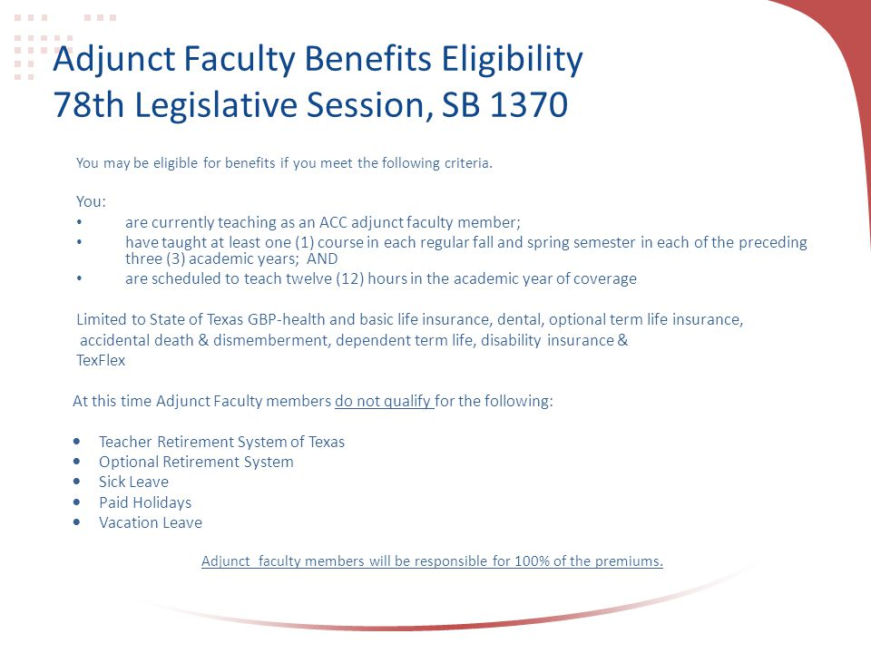 Adjunct Faculty Benefits Eligibility 78th Legislative Session, SB 1370