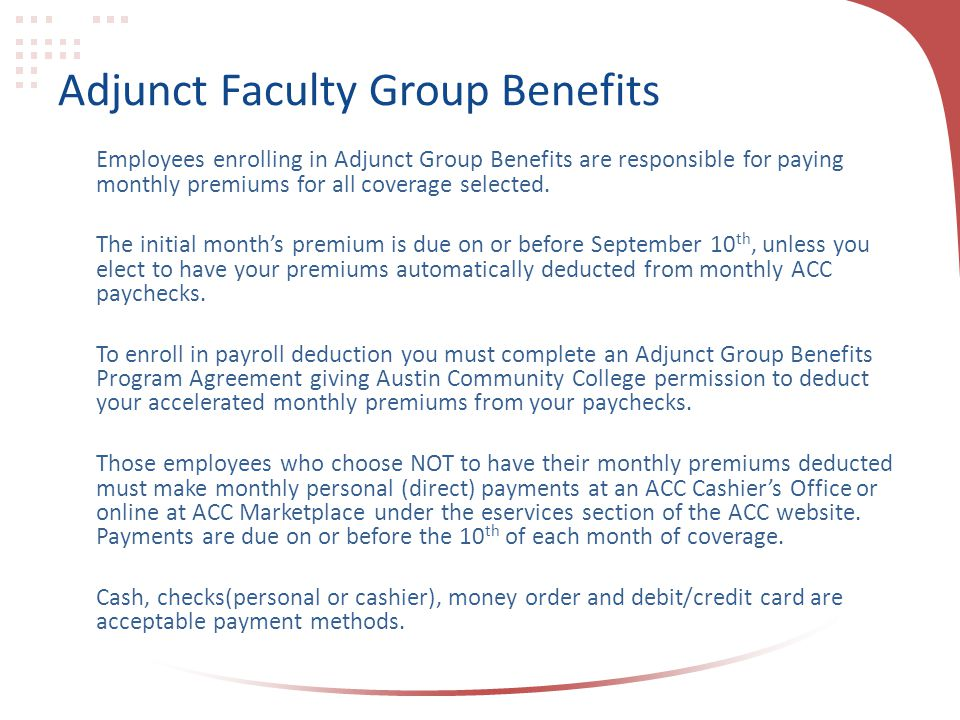 Adjunct Faculty Group Benefits