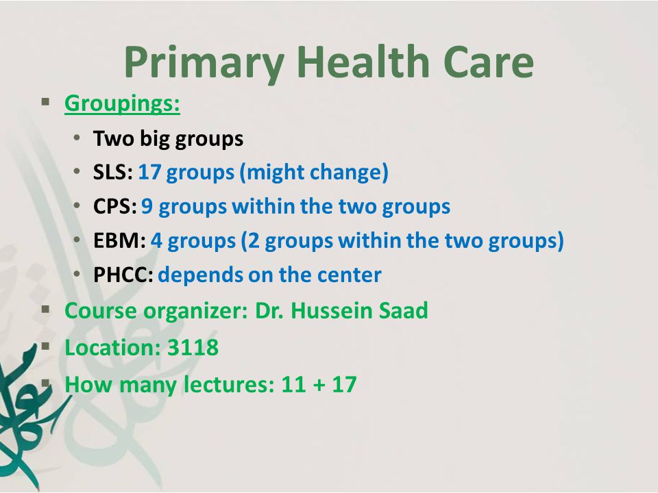 Primary Health Care Groupings: Course organizer: Dr. Hussein Saad